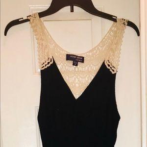 Black Maxi Dress w/White Lace Back